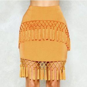 Nasty Gal Tassel Skirt (Size US 4)